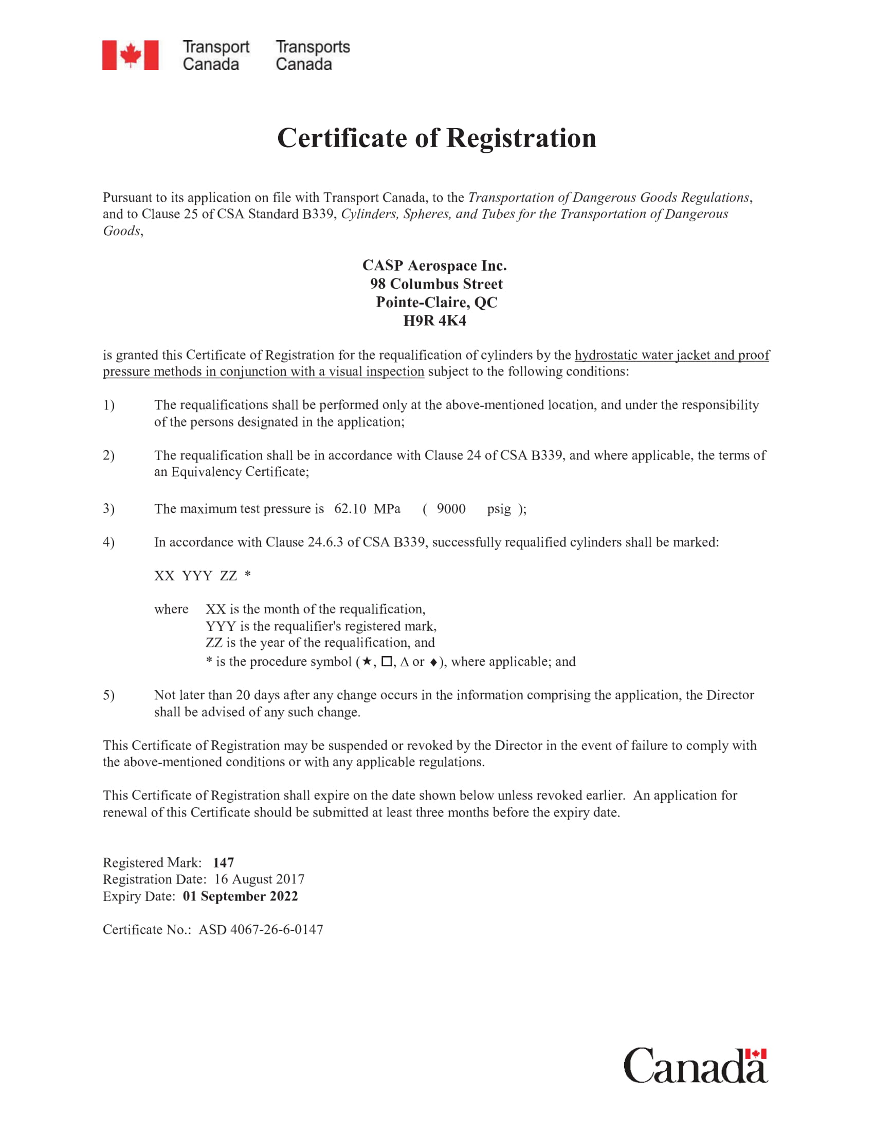 TCCA – Cert of Registration as Cylinder Re-Qualifications
